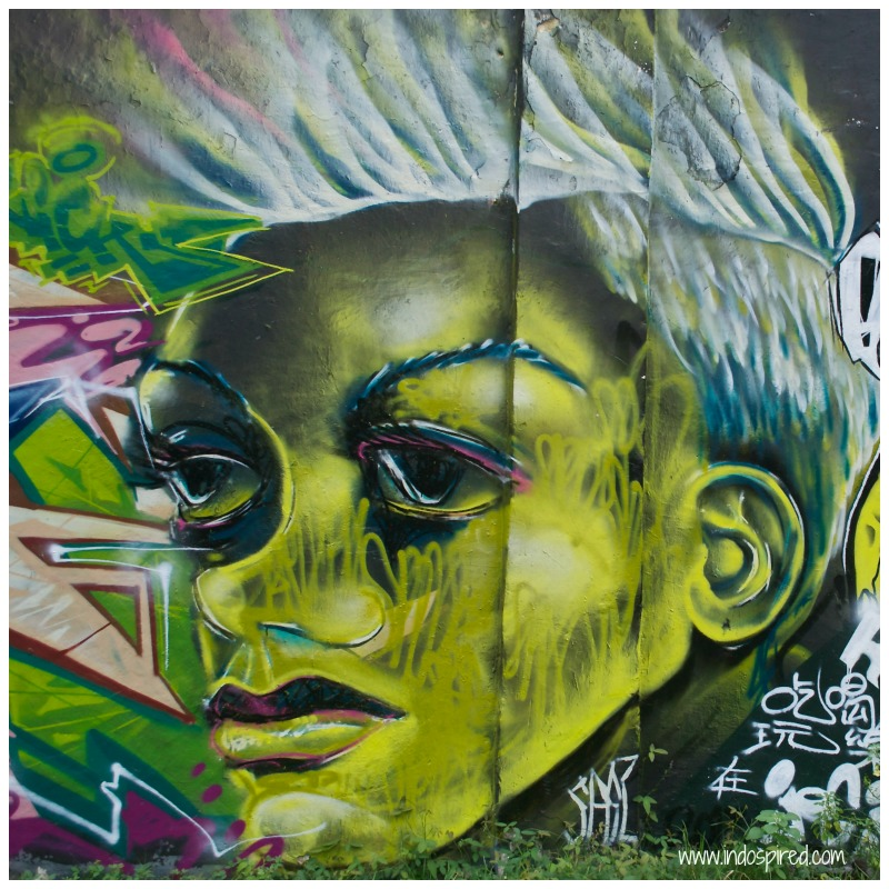 Green face lady street art Pic
