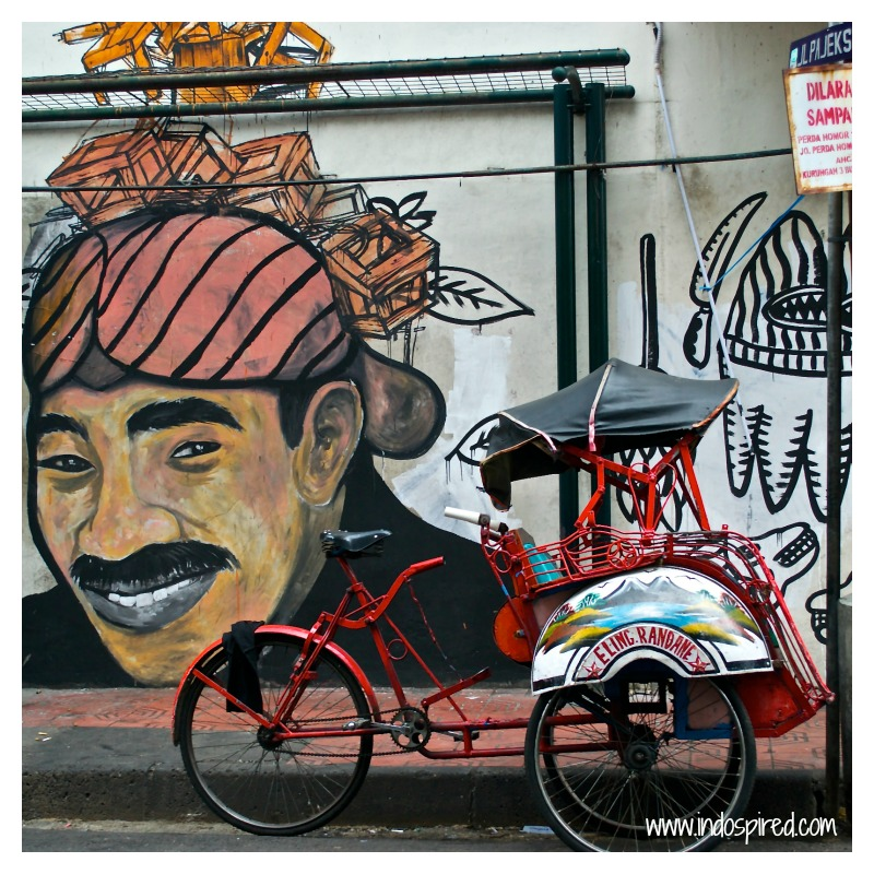 Yogya Man street art + becak Pic
