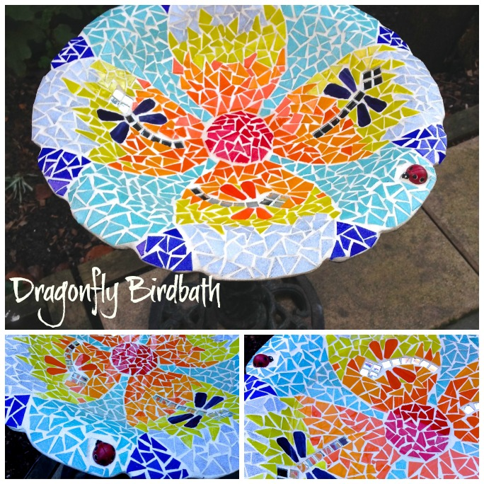 Mosaic birdbath Collage