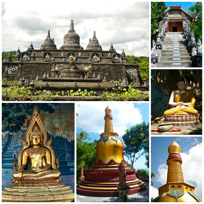 Buddhist Temple Bali Collage