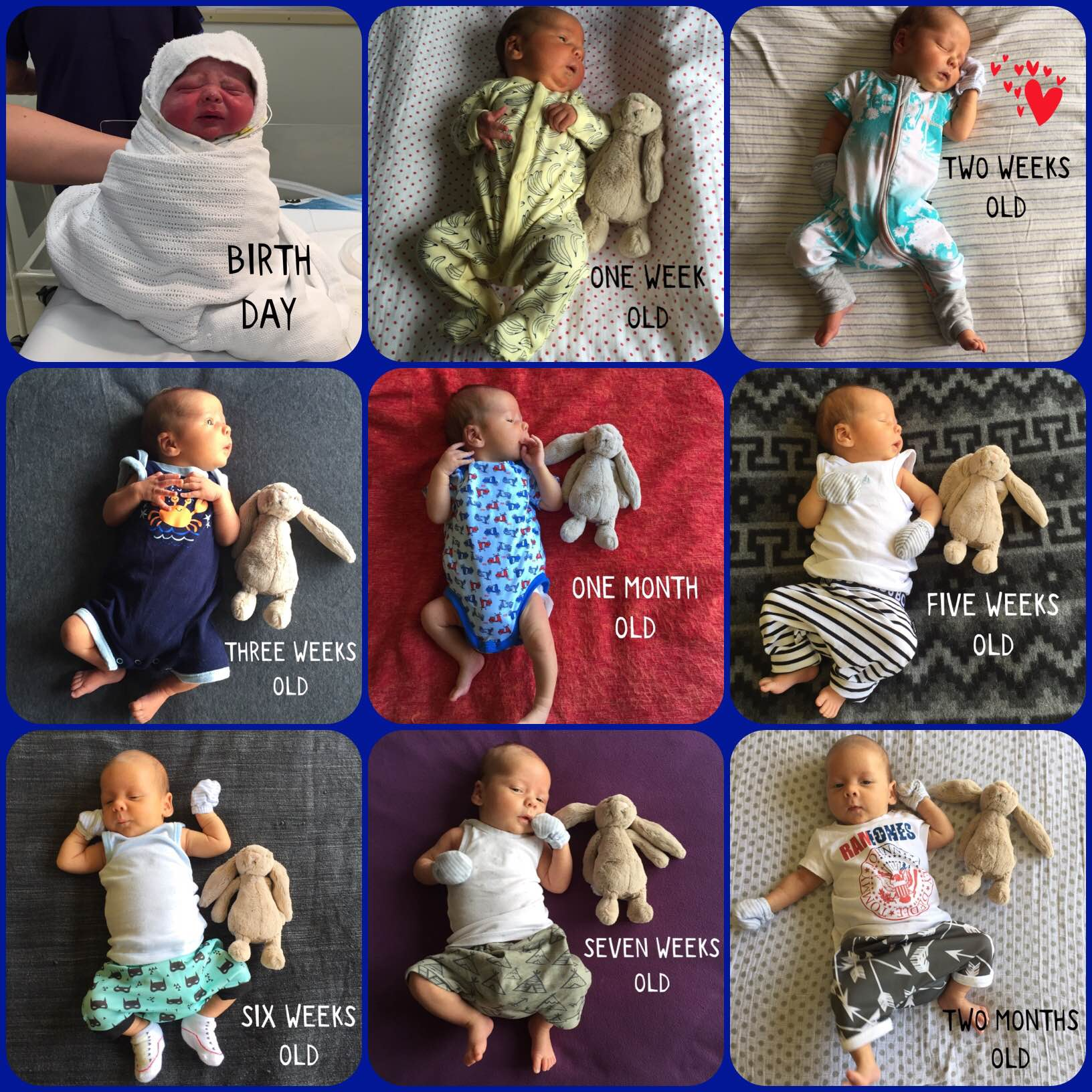 Sebastian Jaya birth to two months old collage