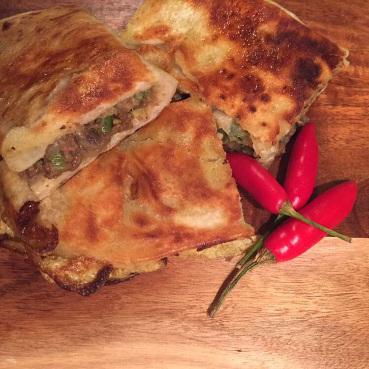 Martabak with chillies